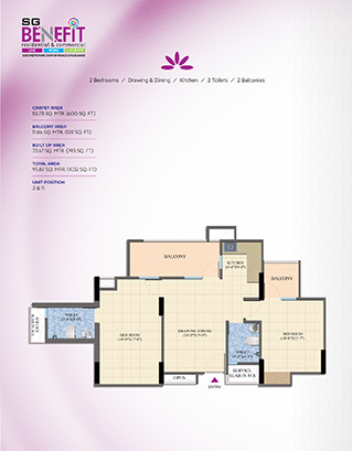 Total Area - 95.87 SQ. MTR. (1032 SQ. FT.)