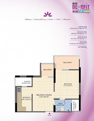 Total Area - 59.45 SQ. MTR. (640 SQ. FT.)