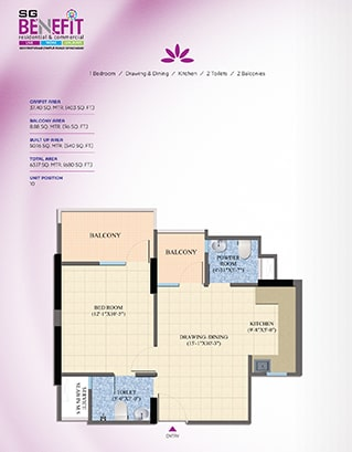 Total Area - 63.17 SQ. MTR. (680 SQ. FT.)